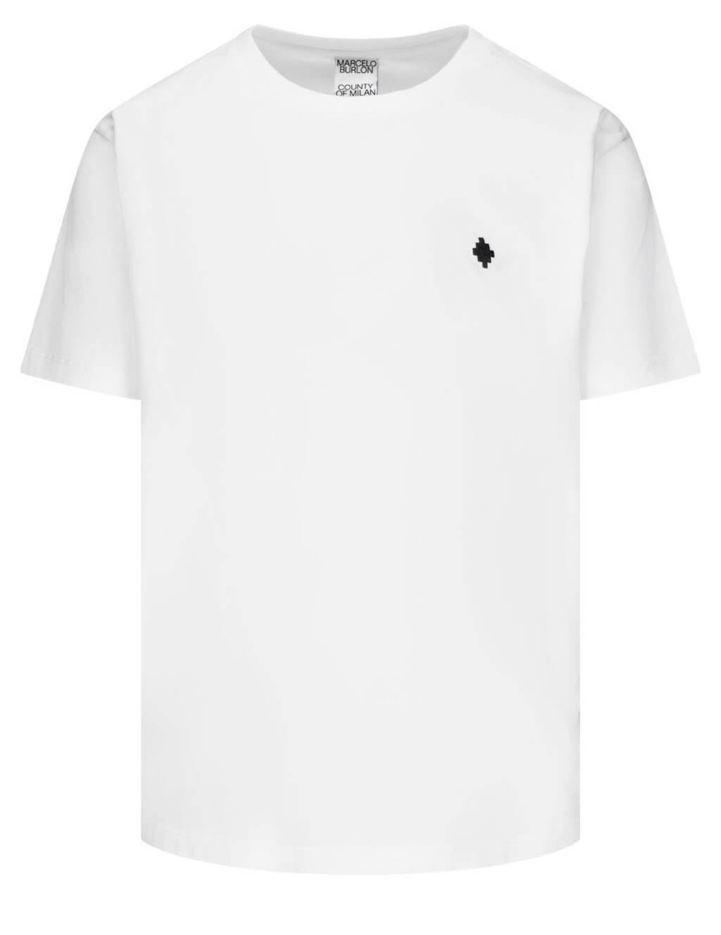 Men's Marcelo Burlon Cross Logo T-Shirt in White/Black - CMAA075R21JER0010110