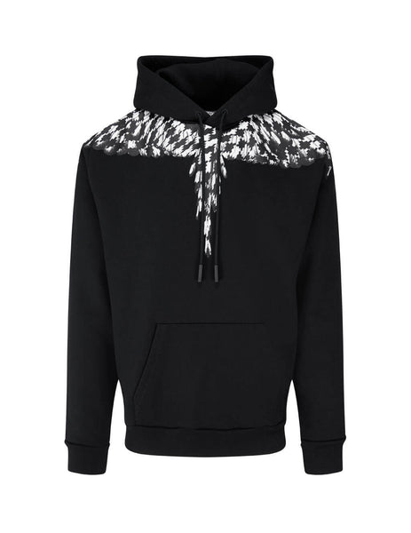 Men's Marcelo Burlon Cross Wings Hoodie in Black and White. CMBB007F20FLE0031010