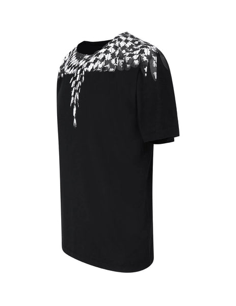 Men's Marcelo Burlon Cross Wings T-Shirt in Black and White. CMAA018F20JER0031010