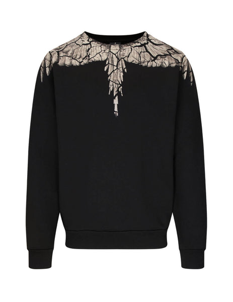 Marcelo Burlon Men's Giulio Fashion Black Earth Wings Sweatshirt CMBA009R20FLE0021060