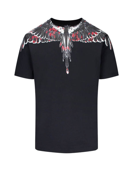 Marcelo Burlon Men's Black Flower Wings T-Shirt in Cotton CMAA018E190010081088