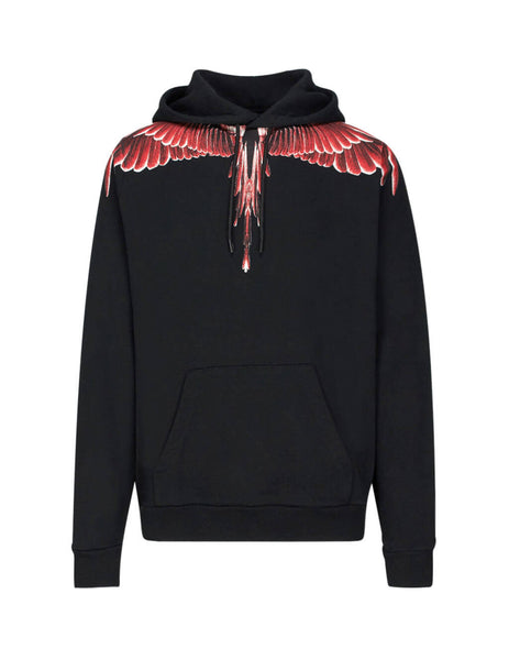 Marcelo Burlon Men's Black Red Ghost Wings Hoodie in Cotton CMBB007E196300031088