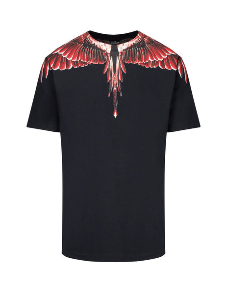 Marcelo Burlon Men's Black Red Ghost Wings T-Shirt in Cotton CMAA018E190010031088