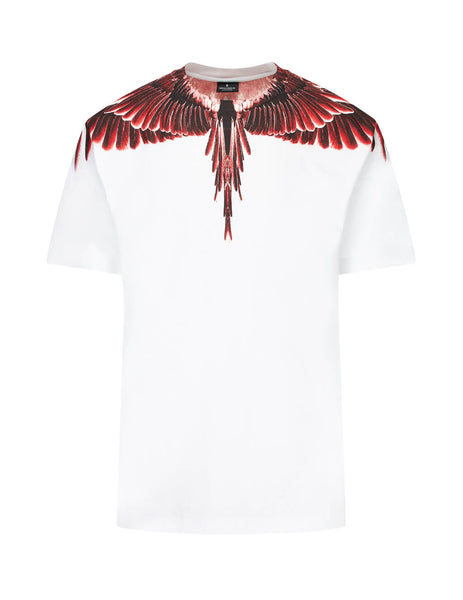 Marcelo Burlon Men's White Red Ghost Wings T-Shirt in Cotton CMAA018E190010030188