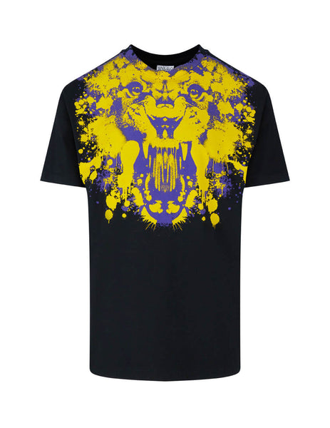 Men's Marcelo Burlon Tiger Print Basic T-Shirt in Black/Yellow/Purple. CMAA018F20JER0151020