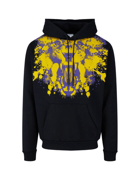 Men's Marcelo Burlon Tiger Print Hoodie in Black/Yellow/Purple. CMBB007F20FLE0141020
