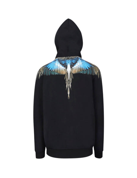Marcelo Burlon Men's Black Turquoise Wings Hoodie in Cotton CMBB007E196300091088