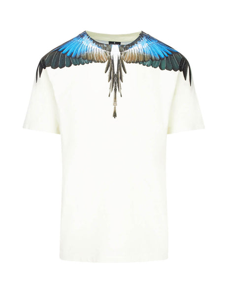 Marcelo Burlon Men's Beige Turquoise Wings T-Shirt in Cotton CMAA018E190010094888