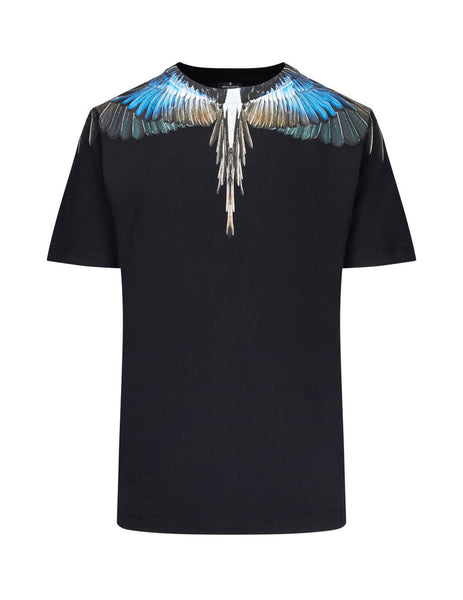 Marcelo Burlon Men's Black Turquoise Wings T-Shirt in Cotton CMAA018E190010091088