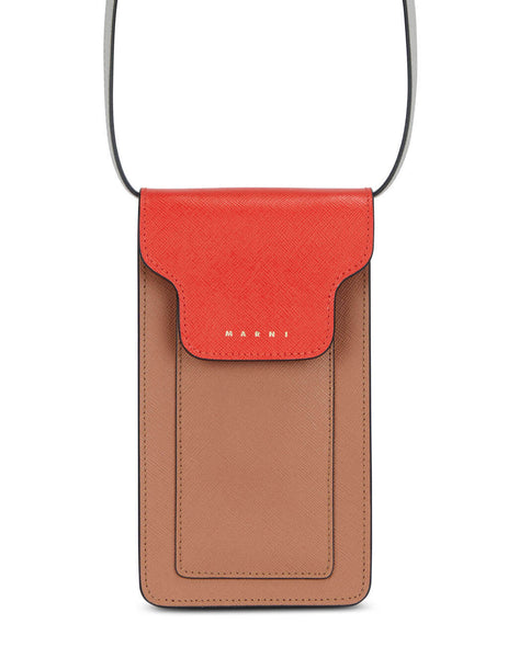 Women's Marni Phone Case with Strap in Tulip/Tobacco/Pelican - TEMO0005U4LV520Z393N