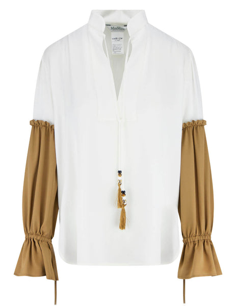Women's Max Mara Rail Shirt in White/Camel - 1111011206001