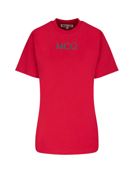McQ Alexander McQueen Women's Giulio Fashion Rouge Matter Band T-Shirt 583304ROH096109