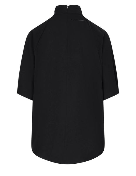 Women's MM6 Maison Margiela Fluid Draped Blouse in Black - S52NC0249S43455900