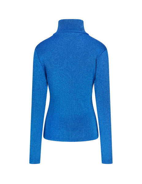 MM6 Maison Margiela Women's Blue Ribbed Polo Top S62NC0052S23810520