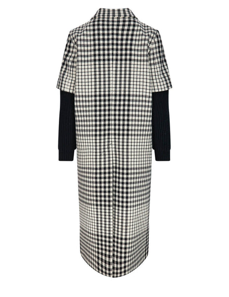 Women's MM6 Maison Margiela Shetland Check Coat in Black/White - S52AA0105S53666002F