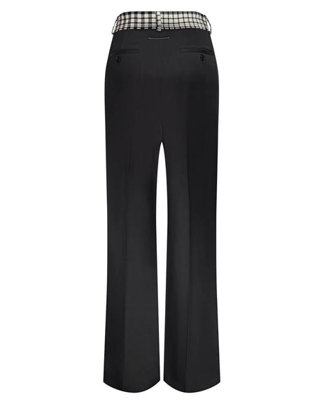 Women's MM6 Maison Margiela Spliced Satin Trousers in Black/White - S52KA0289S45399900