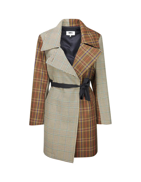 MM6 Maison Margiela Women's Giulio Fashion Brown Checked Jacket S52AM0109STN879961