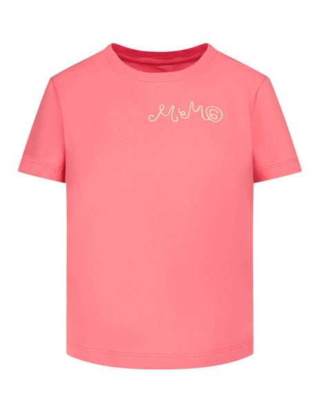 Women's Pink MM6 Maison Margiela Curly Logo T-Shirt S32GC0561S23588250
