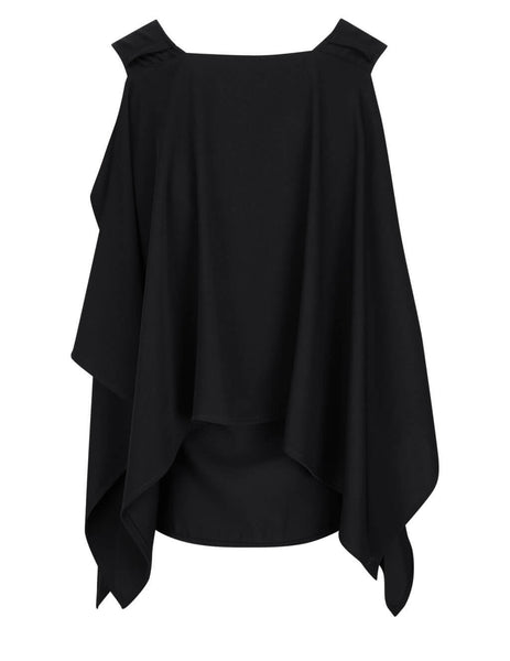 Women's MM6 Maison Margiela Fluid Draped Top in Black -  S62NC0068S43455900