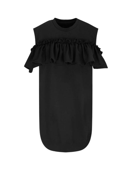 MM6 Maison Margiela Women's Giulio Fashion Black Frilled Front Dress S32CU0132S25454900
