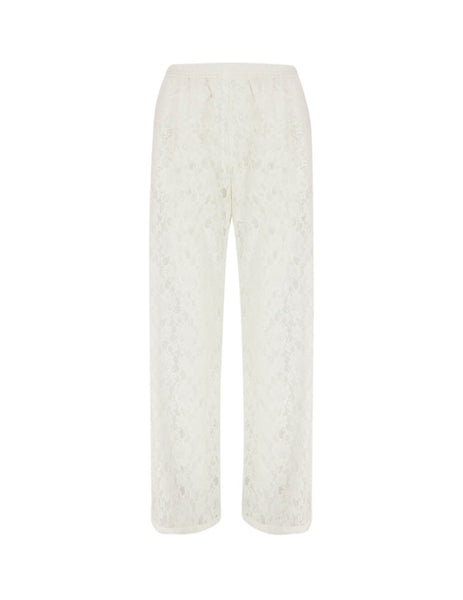 MM6 Maison Margiela Women's Giulio Fashion Off White Lace Trousers S32KA0615S52750101