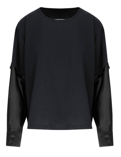 Women's MM6 Maison Margiela Layered Long Sleeve Top in Black - S52NC0257S23588900