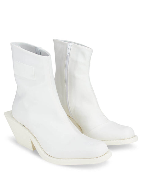 Women's MM6 Maison Margiela Logo Patch Ankle Boots in White. S59WU0165P2692T1003