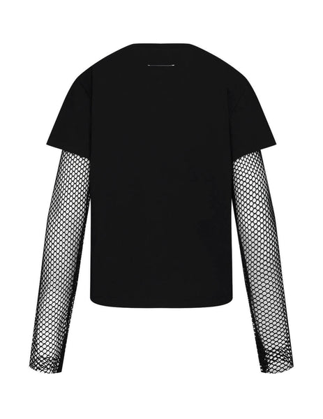 MM6 Maison Margiela Women's Giulio Fashion Black Net Sleeve T-Shirt S62GD0054S23588900