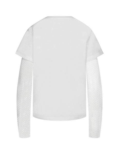 MM6 Maison Margiela Women's Giulio Fashion White Net Sleeve T-Shirt S62GD0054S23588100