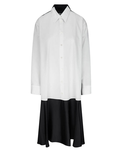 Women's MM6 Maison Margiela Cotton Poplin Shirt Combo Dress in White/Black - S62CT0124STN996961