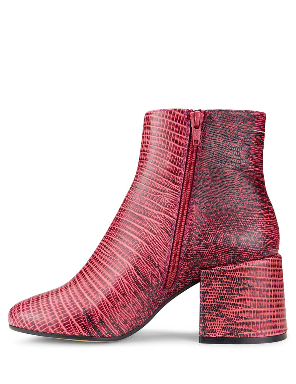MM6 Maison Margiela Women's Giulio Fashion Red Python Ankle Boots S59WU0092P2716T4040