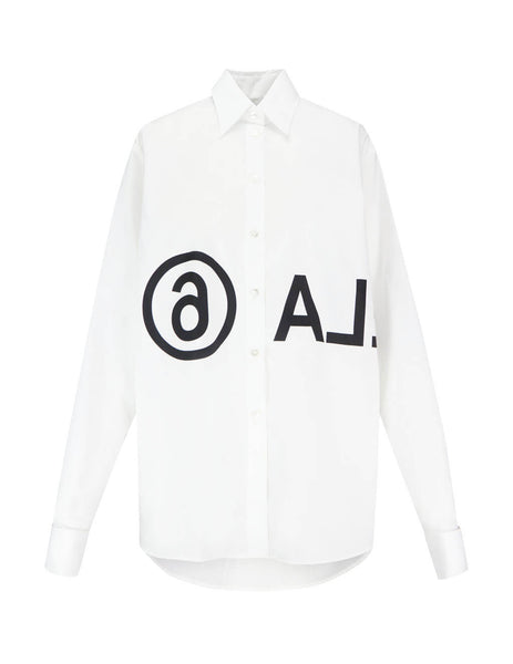 MM6 Maison Margiela Women's Giulio Fashion White Reversed Logo Shirt S52DL0097S47294100