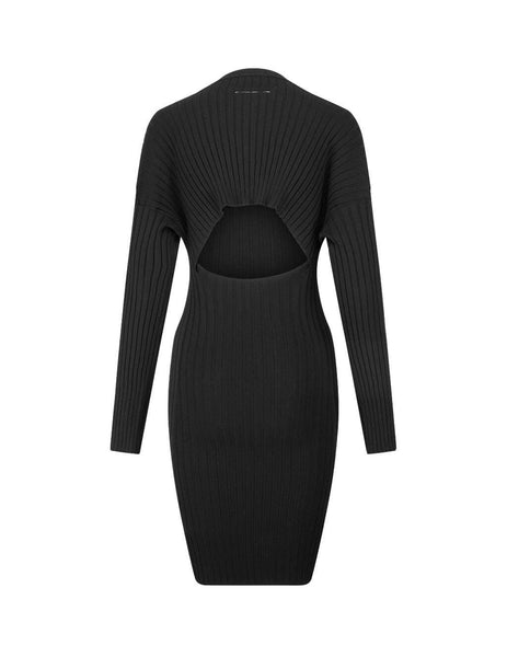 Women's Black MM6 Maison Margiela Rib Knit Dress S52CT0527S16773900