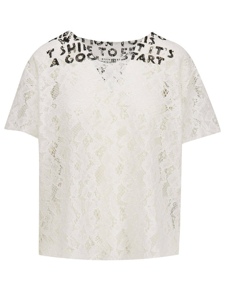 Women's White MM6 Maison Margiela Wide Floral T-Shirt S62GD0053S48633101