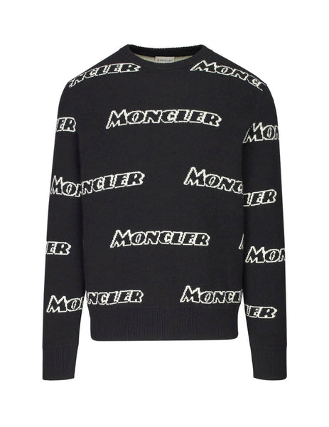 Moncler Men's Black/White Logo Intarsia Knit Sweater 9043600A9138999