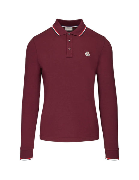 Moncler Men's Bordeaux Red Long Sleeve Polo Shirt 834800084556464