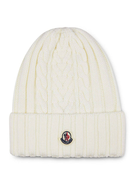 Moncler Women's Giulio Fashion White Plaited Beanie 9963300A9146034