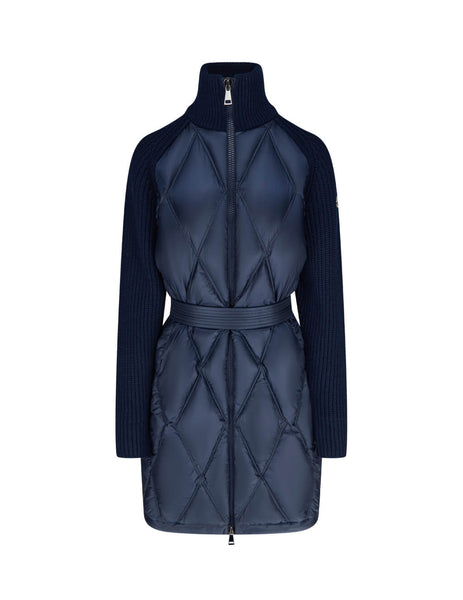 Moncler Women's Navy Quilted Padded Cardigan 0939B51800A9108742