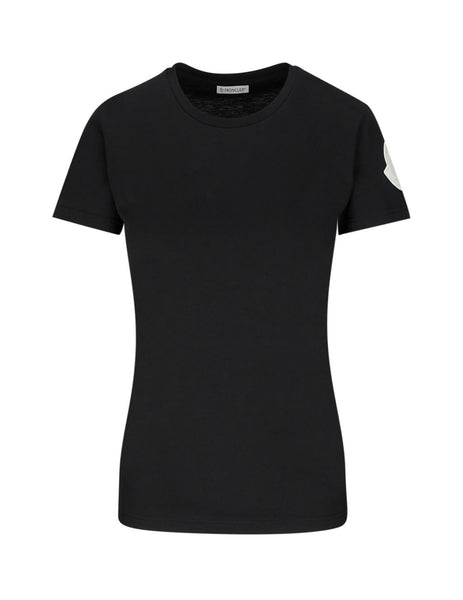 Moncler Women's Black Sleeve Patch T-Shirt 0938C71600V8102999