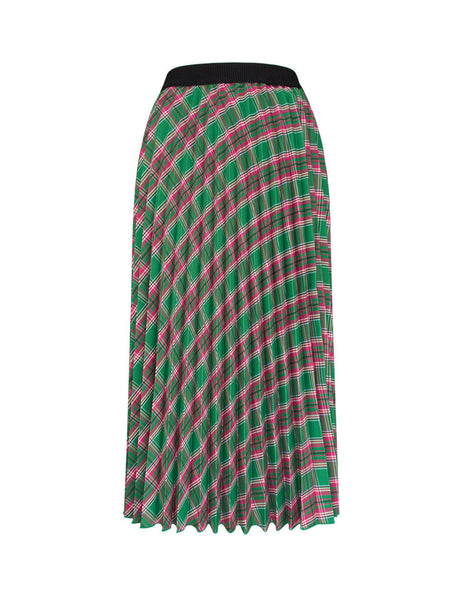 Moncler Women's Green/Pink Technical Plaid Pleated Skirt 2530000C0253854