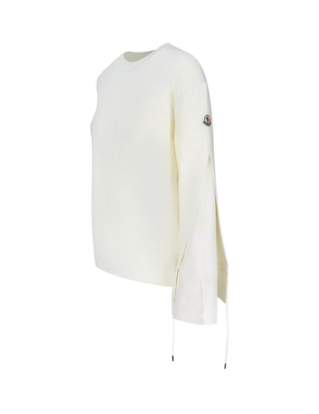 Moncler Women's White Tie Sleeve Jumper 0939C71900A9361030