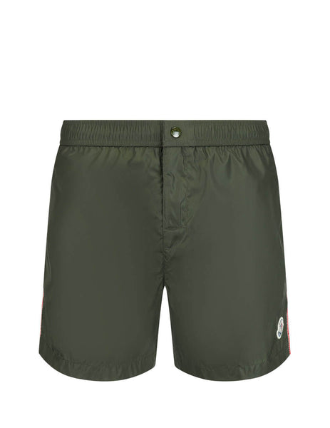 Moncler Men's Giulio Fashion Olive Green Velcro Swim Shorts 0912C7070053326833