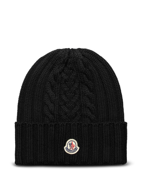 Women's Black Moncler Wool Knit Logo Hat 0939Z70600A9146999