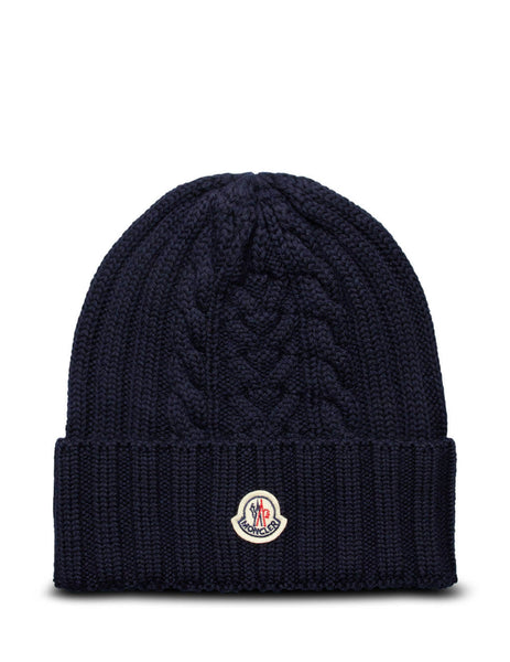 Women's Navy Moncler Wool Knit Logo Hat 0939Z70600A9146778