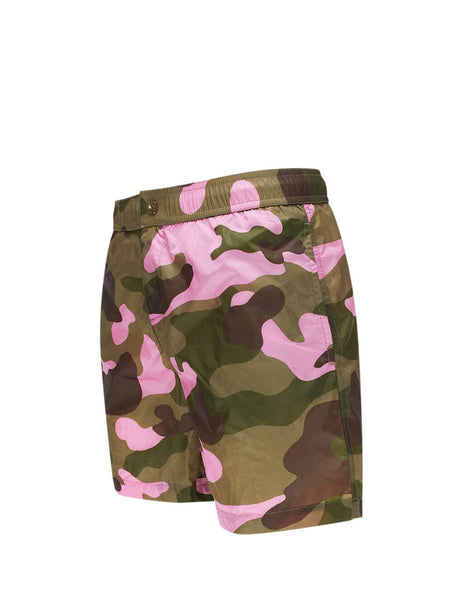 Moncler Men's Giulio Fashion Green & Dark Pink Camouflage Swim Shorts 0912C70600539TW520