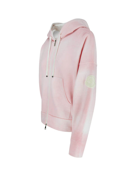 Women's Pink Moncler Clouded Print Zip Up Hoodie 0938g72510v8126500