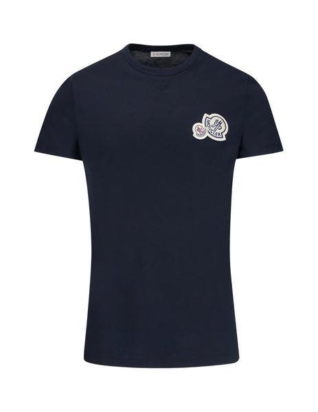 Moncler Men's Giulio Fashion Navy Double Logo T-Shirt 80325008390Y773