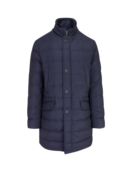 Moncler Men's Giulio Fashion Navy Double Closure Coat 317078054272780
