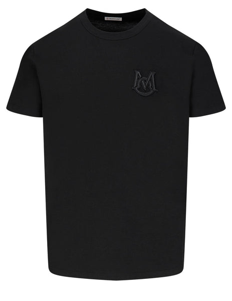 Men's Moncler Embroidered Monogram Logo T-Shirt in Black - 0918C7C6008390T999