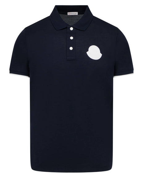 Men's Moncler Graphic Polo Shirt in Navy Blue - 0918A7240084673778